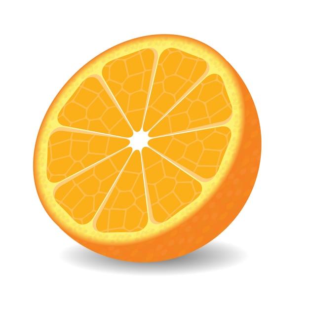 Moitié orange sur fond blanc. Vecteur Premium