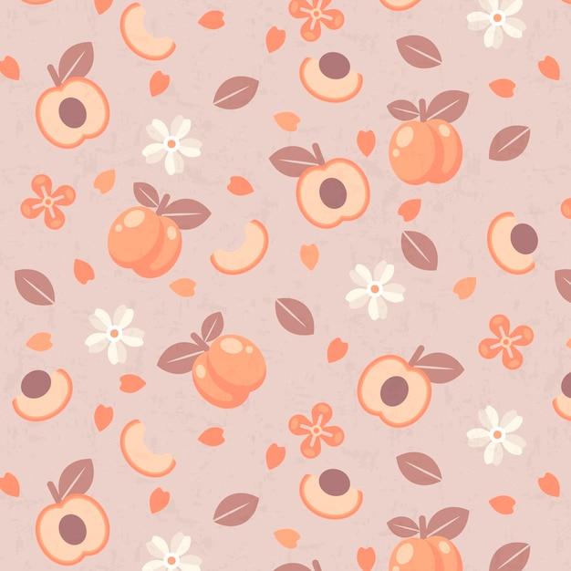 Moitiés De Motif De Fruits Et De Fleurs De Prune Vecteur gratuit