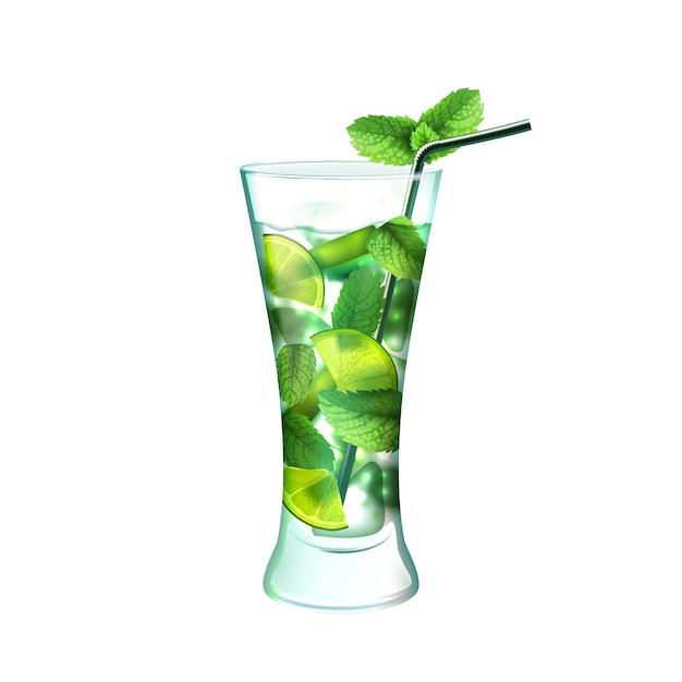 Mojito Cocktail Réaliste Vecteur gratuit