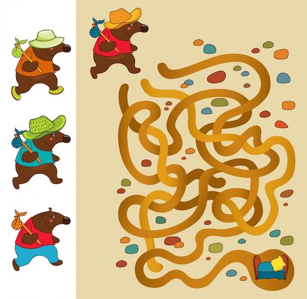 Môle. jeu de labyrinthe éducatif pour les enfants. Vecteur Premium