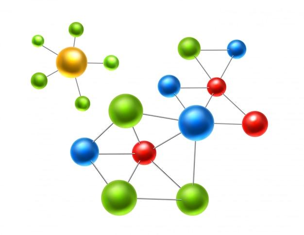 Molécule Atomique Réaliste, Atomes Pour La Chimie Et La Science Vecteur Premium