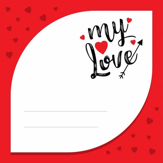 Mon amour avec cadre de modèle rouge Vecteur gratuit