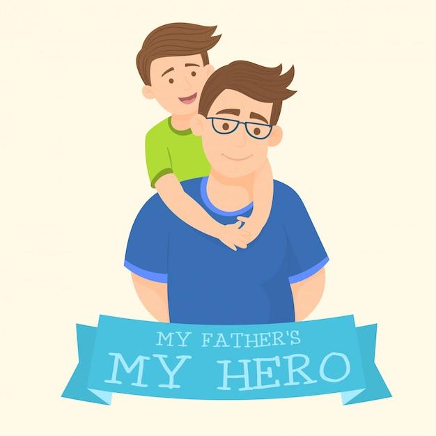 Mon père est un héros Vecteur Premium
