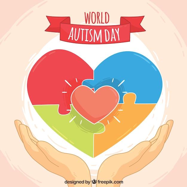 Monde autisme fond jour avec le coeur et casse-tête Vecteur gratuit