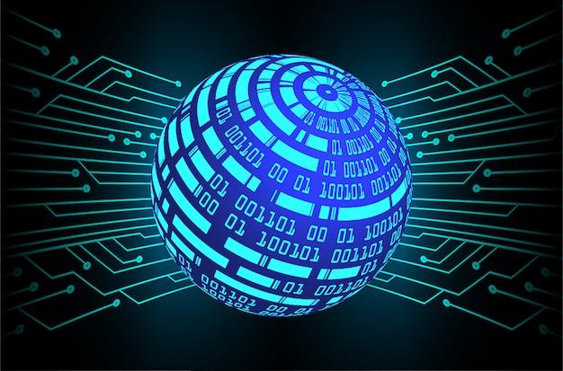 Monde bleu fond du concept de technologie future cyber circuit Vecteur Premium