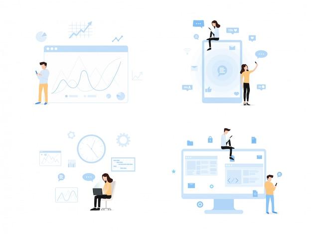 Monde contemporain de l'ensemble de l'information Vecteur Premium