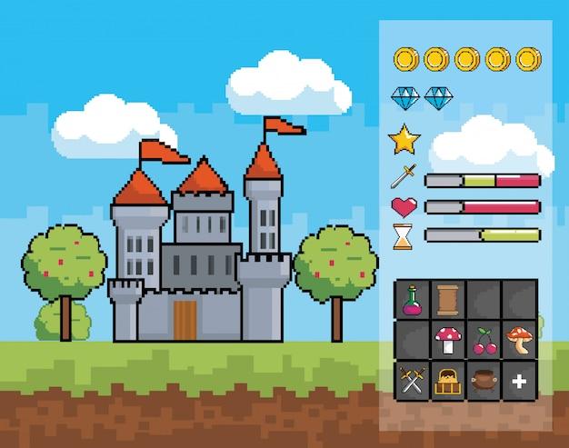 Monde Du Jeu D'arcade Et Scène De Pixel Vecteur gratuit