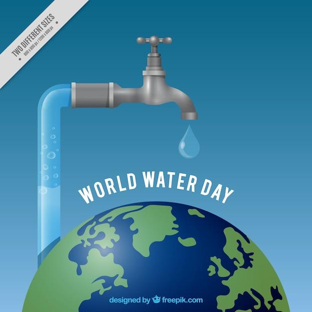 Monde De L'eau Réaliste Robinet Jour Fond Vecteur gratuit