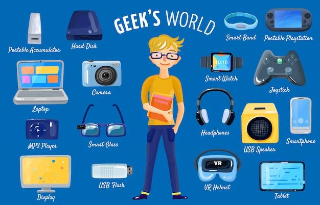 Monde de gadgets set Vecteur gratuit