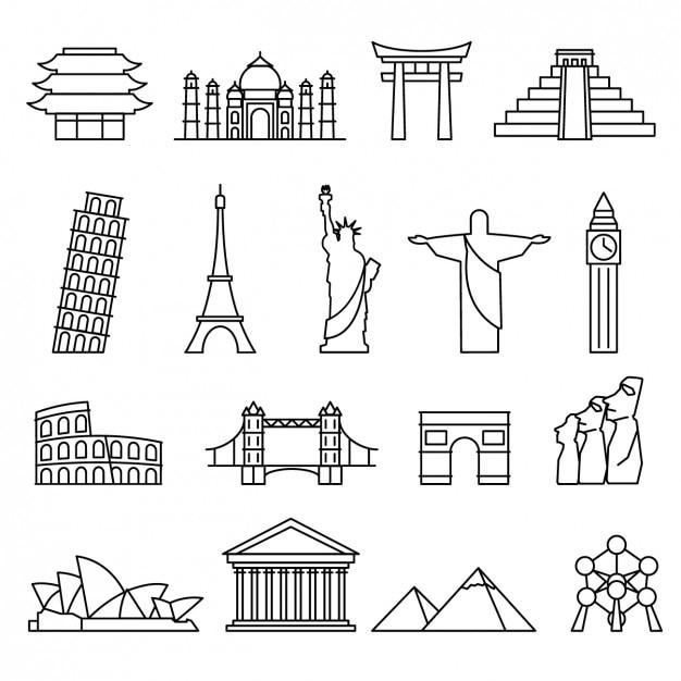 Monde landmarks collection Vecteur gratuit