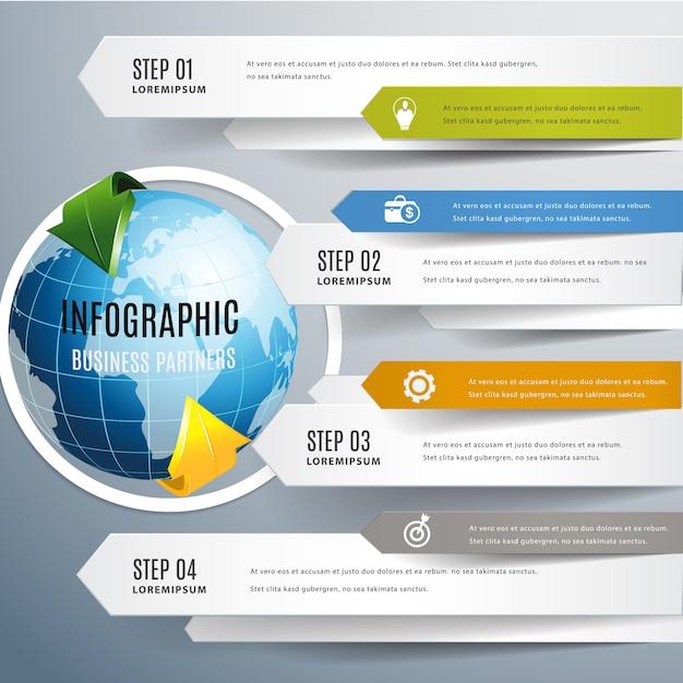 Monde moderne flèche infographique. Vecteur Premium