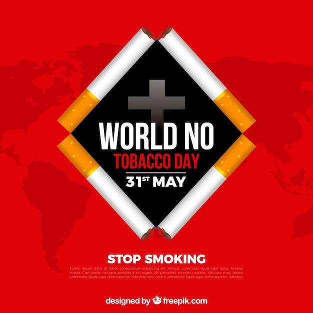 Monde pas de fond de la journée du tabac avec des cigarettes forme du rhombus Vecteur gratuit