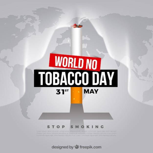 Monde pas de fond de la journée du tabac avec la cigarette sur la carte du monde Vecteur gratuit