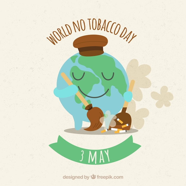 Monde sans fond de jour du tabac avec globe terrestre balayant des cigarettes Vecteur gratuit