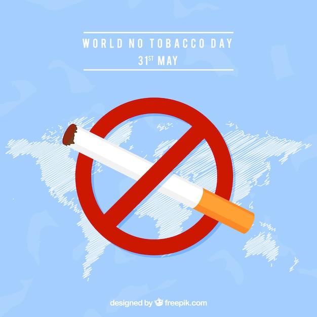 Monde sans fond de jour du tabac avec un signe d'interdiction Vecteur gratuit