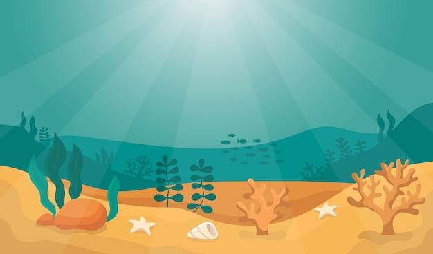 Monde Sous-marin De Fond De Mer Dans Le Fond De Soleil Vecteur Premium