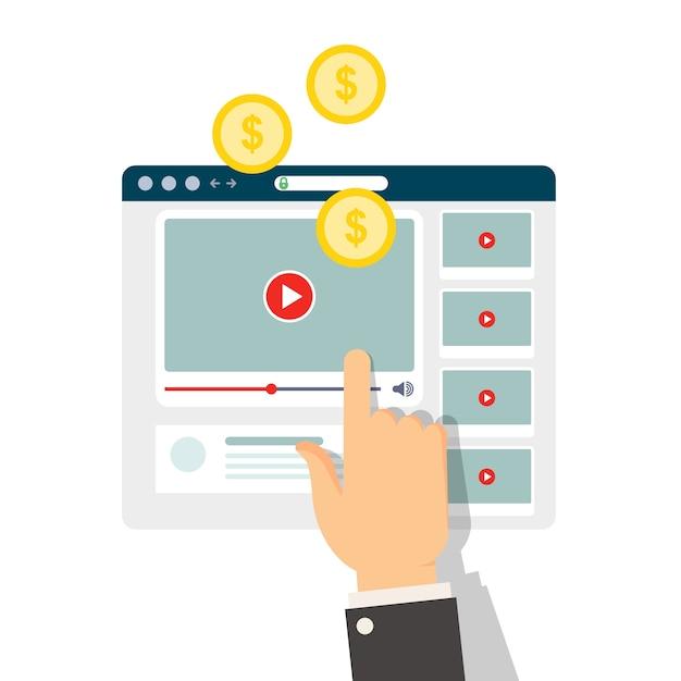 Monétisation Du Contenu Vidéo - Gagner De L'argent Avec Le Vlog Vecteur Premium