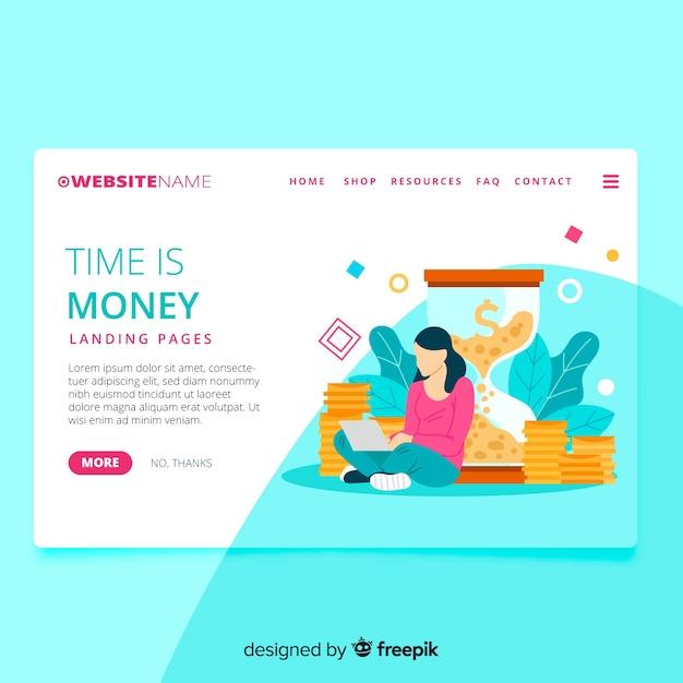 Money page de destination Vecteur gratuit