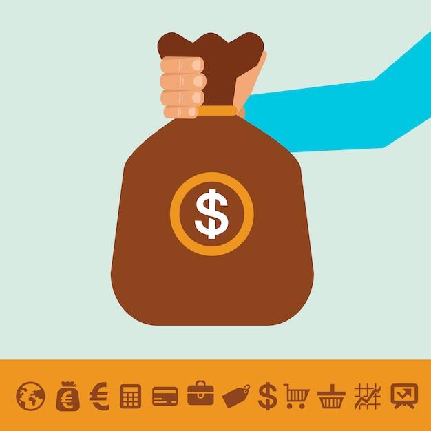 Moneybag et icônes de banque Vecteur Premium