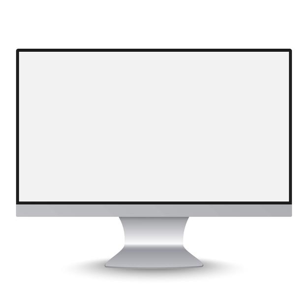 Moniteur de cadre monobloc réaliste avec écran blanc vide isolé. Vecteur Premium
