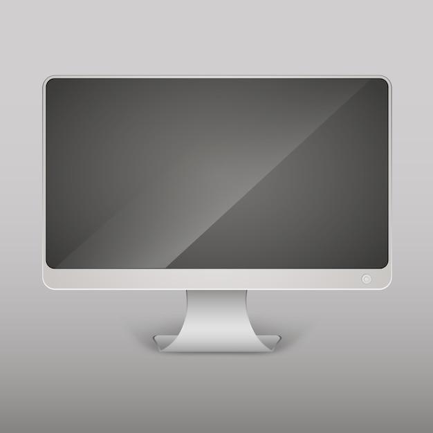 Moniteur d'ordinateur vide réaliste de vecteur, écran isolé Vecteur Premium