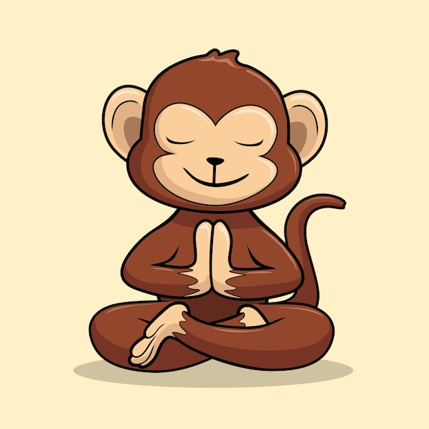 Monkey Yoga Cartoon Chimp Auspicious Pose Swastikasana Vecteur Premium