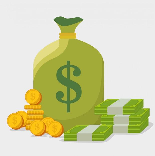 Monnaie de banque et investissement Vecteur Premium