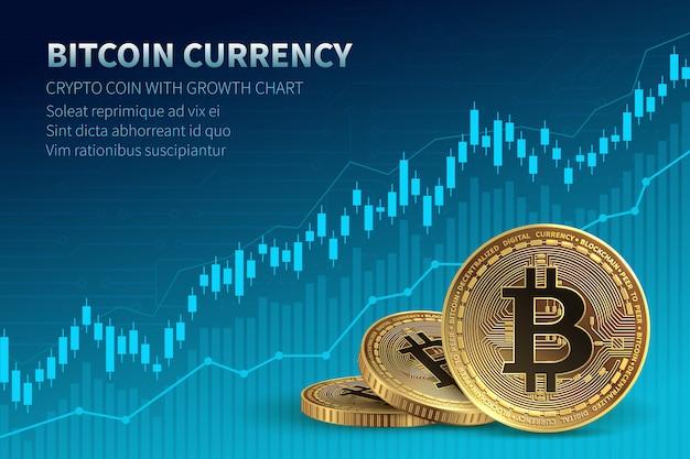 Monnaie Bitcoin. Pièce De Crypto Avec Courbe De Croissance. Bourse Internationale. Vecteur Premium