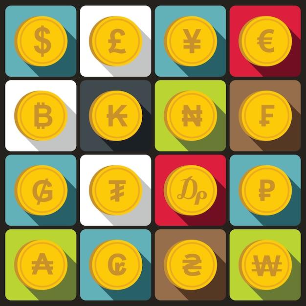 Monnaie de jeu d'icônes de différents pays Vecteur Premium