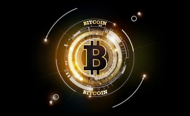 Monnaie Numérique Bitcoin Doré, Argent Numérique Futuriste, Concept De Réseau Mondial De Technologie, Illustration Vecteur Premium