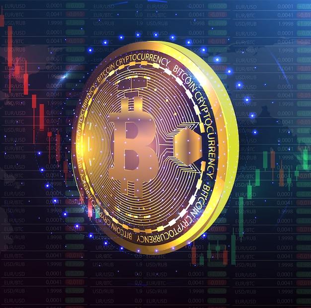 Monnaie numérique Vecteur Premium