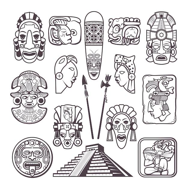 Monochrome Définir Des Symboles De La Culture Maya. Masques Et Totems Tribaux Vecteur Premium