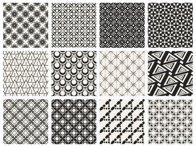 Monochrome géométrique sans soudure de fond. Vecteur Premium