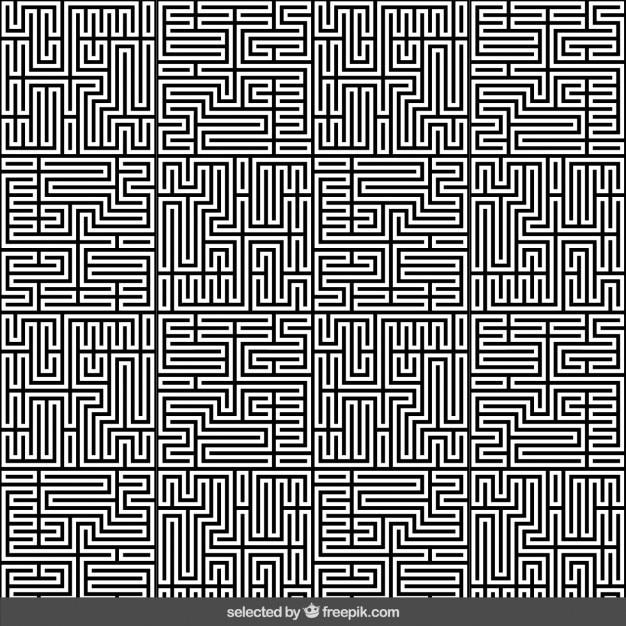 Monochrome labyrinthe abstrait Vecteur gratuit