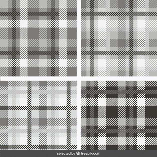 Monochrome modèles de tartan collection Vecteur gratuit
