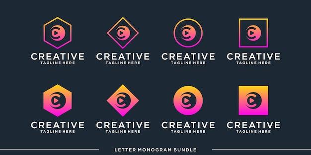 Monogramme Abstrait Initial C, Modèle De Conception De Logo Vecteur Premium
