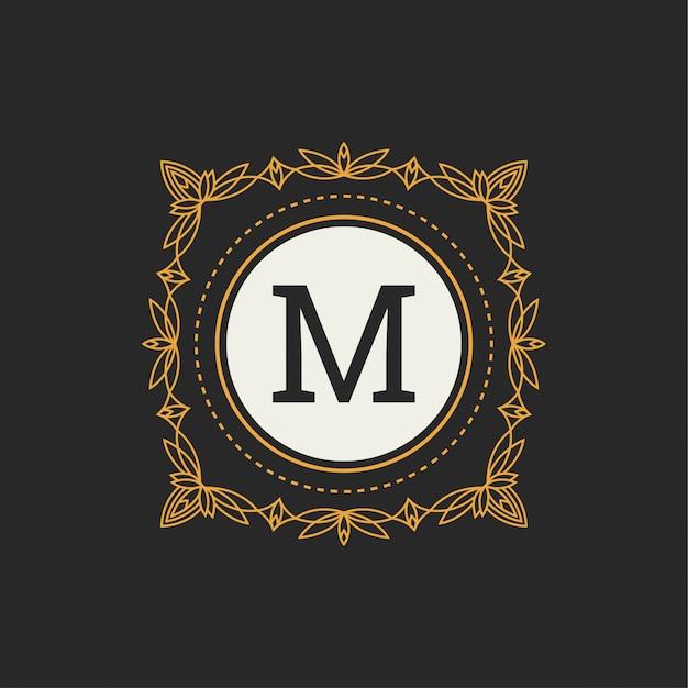 Monogramme floral. ornement classique. éléments de design classiques pour les invitations de mariage Vecteur Premium