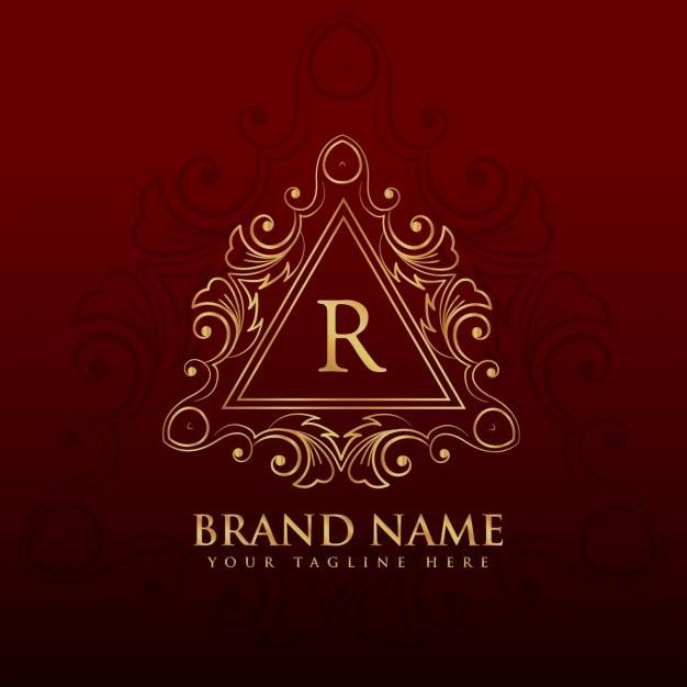 Monogramme frontière cadre de conception de logo pour la lettre r Vecteur gratuit