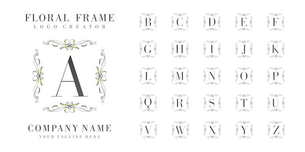 Monogramme Initial De Logo Avec Ornements Floraux Vecteur Premium