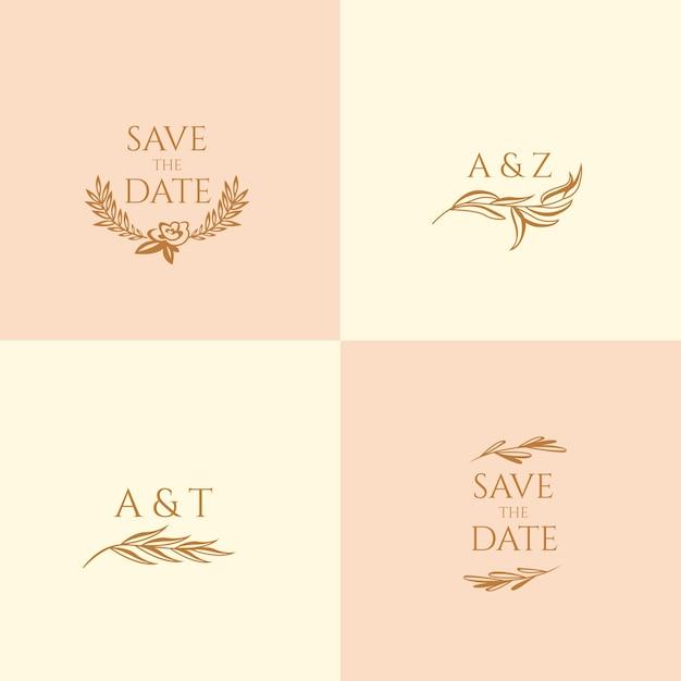 Monogrammes de mariage aux couleurs pastel et faites gagner la date Vecteur gratuit