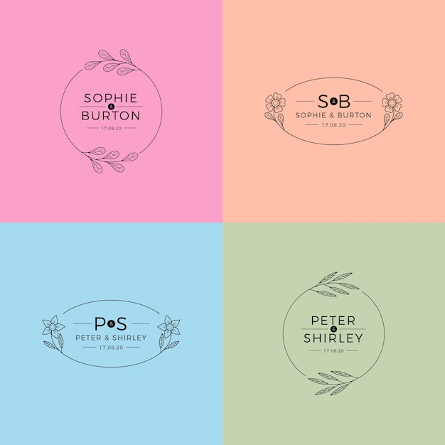 Monogrammes de mariage dans le concept de couleurs pastel Vecteur gratuit