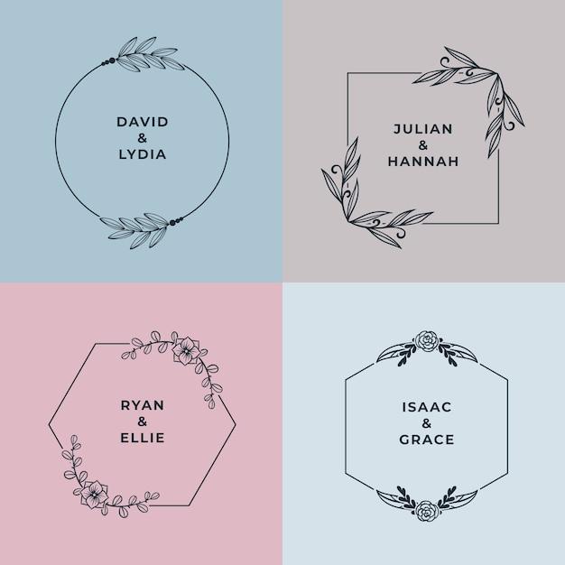 Monogrammes de mariage minimalistes aux couleurs pastel Vecteur gratuit