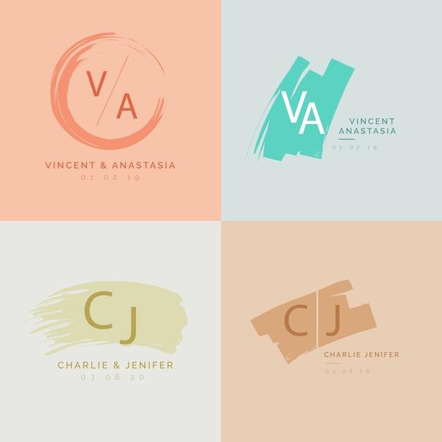 Monogrammes de mariage minimalistes colorés dans des couleurs pastel Vecteur gratuit