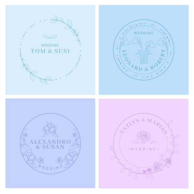 Monogrammes de mariage minimalistes dans des couleurs pastel Vecteur gratuit