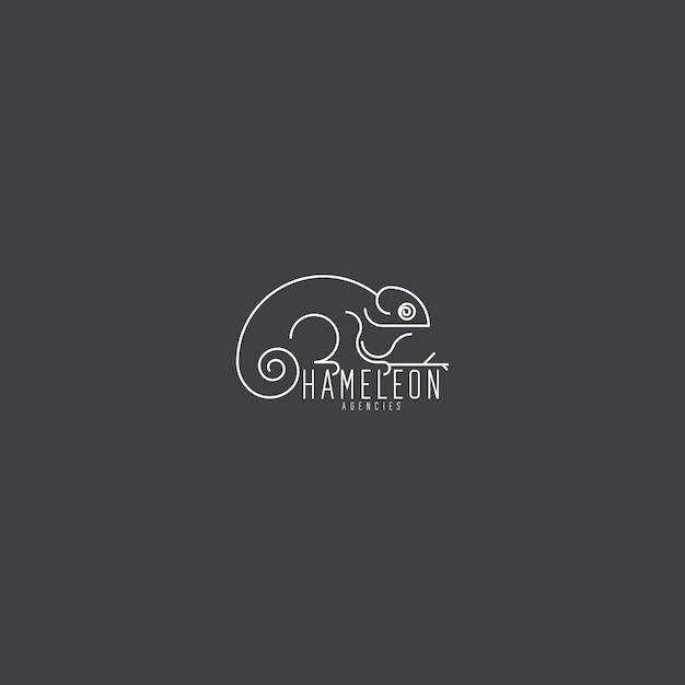 Monoline élégant logo unique et artistique caméléon Vecteur Premium