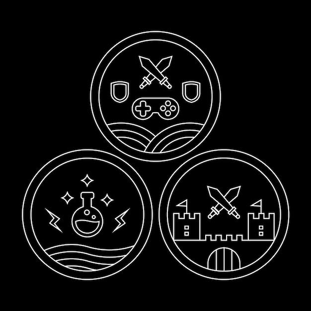 Monoline rpg ou jeu de rôle emblème, insigne ou jeu d'icônes Vecteur Premium