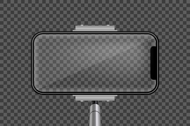 Monopod selfie stick, écran mobile de téléphone vide. Vecteur Premium