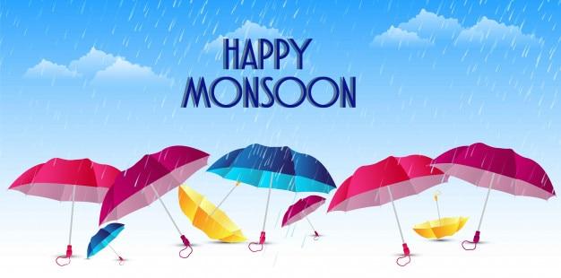Monsoon heureux avec illustration design sympa et créatif Vecteur Premium