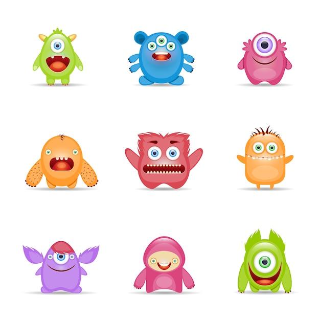 Monster character set Vecteur gratuit