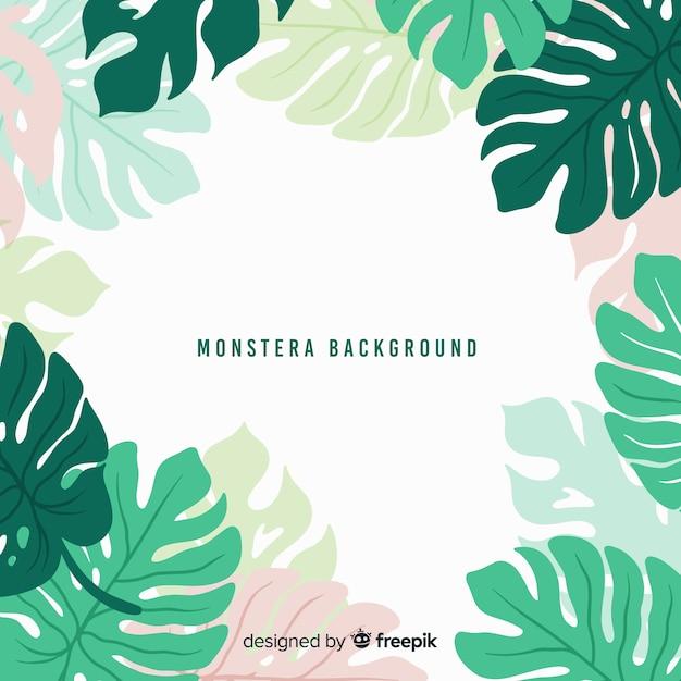 Monstera de couleur pastel feuilles fond Vecteur gratuit